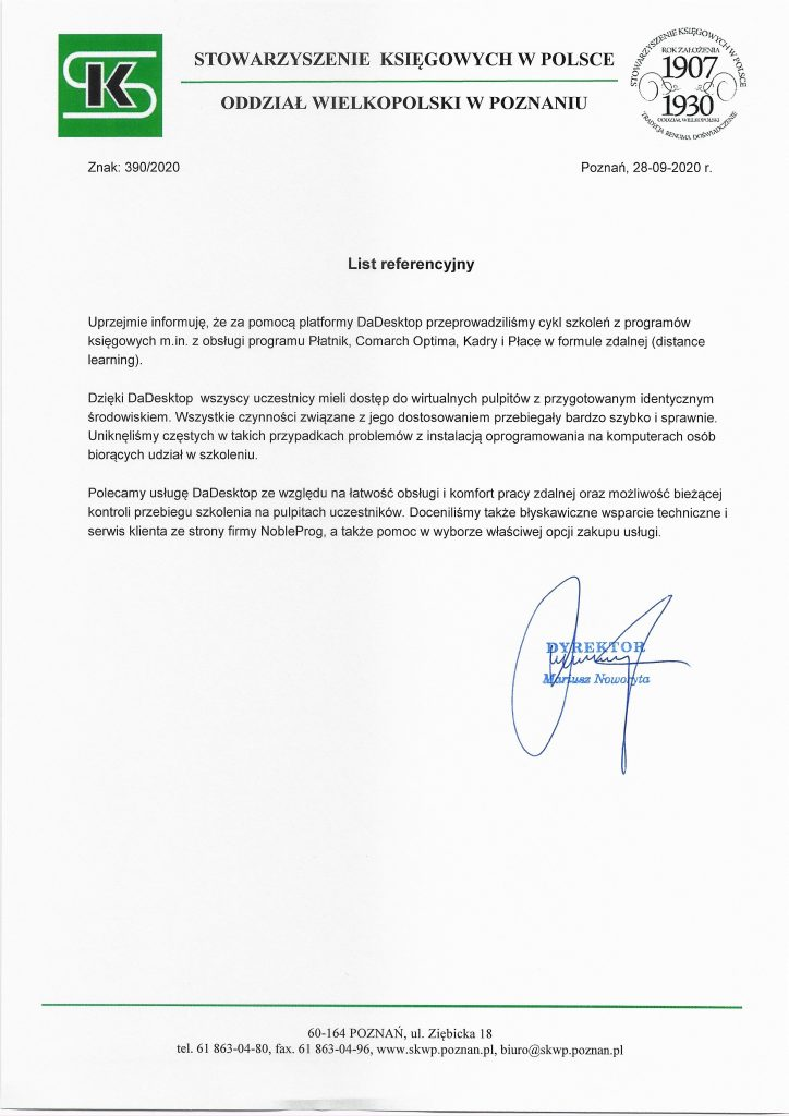 Referencje SKWP Poznan